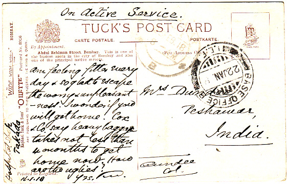 [16280]  KENYA-INDIA [EAST AFRICA WW1-HOSPITAL SHIP]  1918(Jan 16)