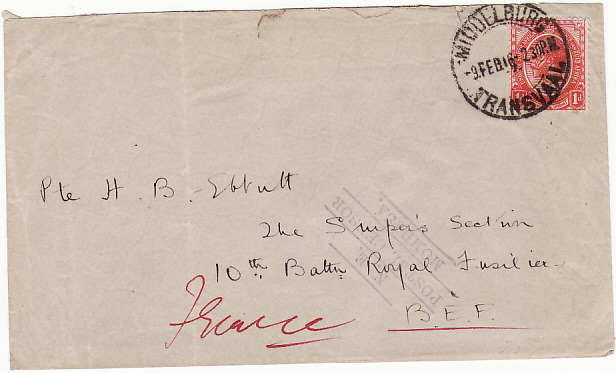 [16281]  SOUTH AFRICA-FRANCE [EAST AFRICA WW1-MISSENT]  1916(Feb 9)