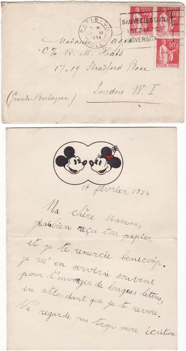 [15925]  FRANCE-GB [EARLY DISNEY/MOURNING PAPER]  1934(Feb 17)