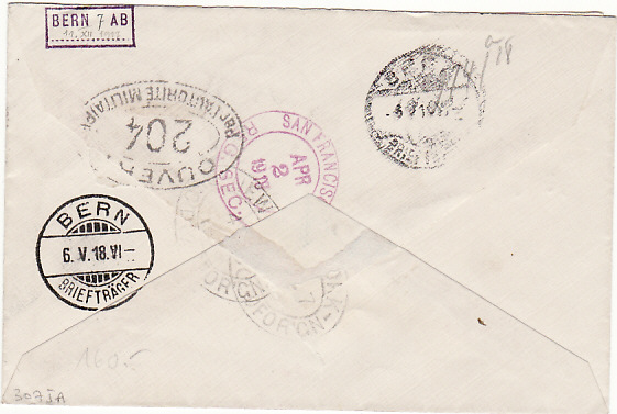 [12809]  SAMOA-SWITZERLAND [WW1-DOUBLE CENSORED-REGISTERED]  1918(Mar 11)