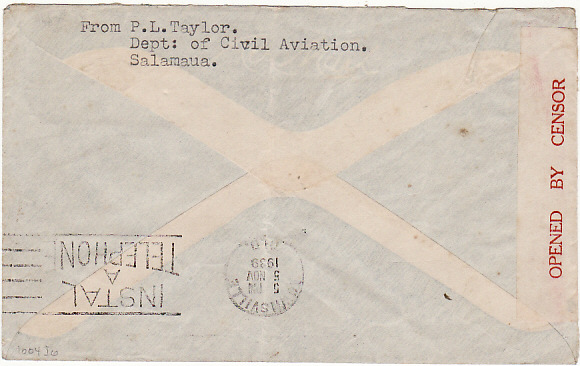 [11030]  NEW GUINEA-GB [WW2-AIRMAIL-CENSORED]  1939(Nov 4)