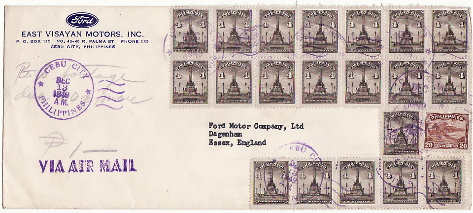 [15034]  PHILIPPINE Is-GB [POSTAGE DUE/FORD MOTORS]  1949(Dec 10)