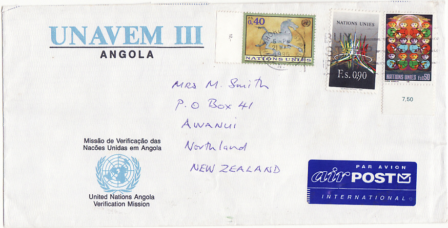 [14372]  ANGOLA-NEW ZEALAND [UNAVEM 111/ANGOLA]  1996(Mar 21)