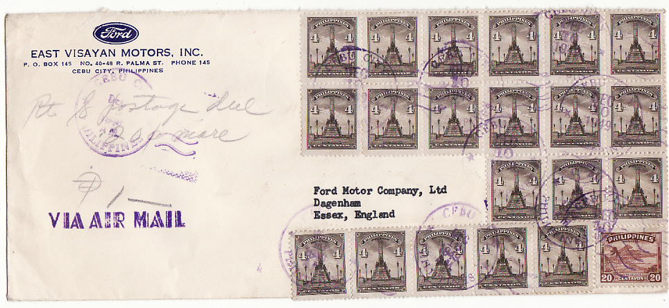 [15035]  PHILIPPINE Is-GB [POSTAGE DUE/FORD MOTORS]  1949(Dec 10)