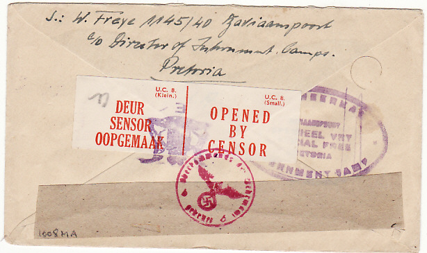 [13859]  SOUTH AFRICA-GERMANY [POW MAIL]  1944(Apr 14)