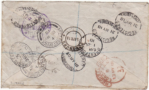 [11545]  SOUTH AFRICA-GB-FRANCE-GB [WW1-REGISTERED-REDIRECTED]  1918(Apr 5)