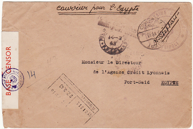 [12637]  FR. LEVANT-EGYPT [FREE FRENCH/COURIER MAIL]  1943(Mar 14)