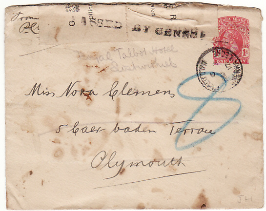 [12811]  SIERRA LEONE-GB [WW1-CENSORED- STATIONARY]  1917(Aug 2)