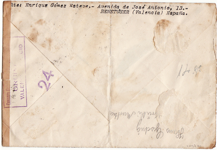 [10744]  SPAIN-SWITZERLAND [WW2-AIRMAIL-CENSORED]  1940(May 18)
