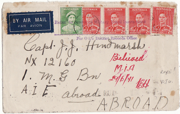 [11102]  AUSTRALIA-A.I.F. ABROAD [BELIEVED M.I.A.-RETURNED BY MILITARY]  1941(Jun)