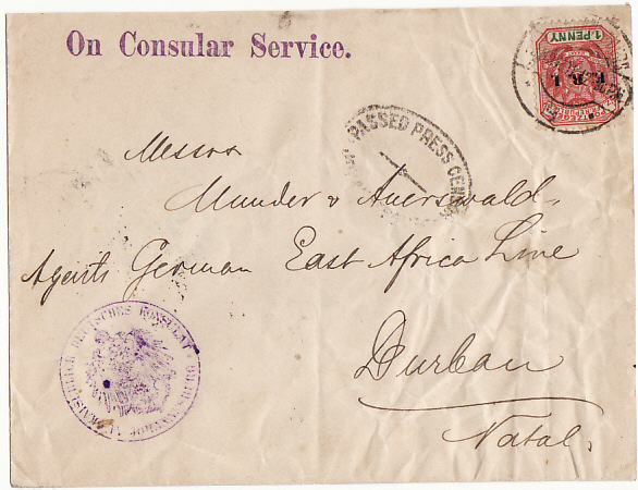 [10480]  SOUTH AFRICA [BOER WAR-TRANSVAAL-NATAL-CONSULAR]  1901(Nov 8)
