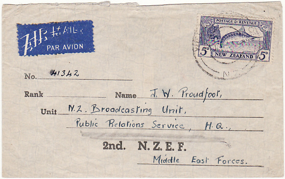 [12303]  NEW ZEALAND-EGYPT [MIDDLE EAST FORCES-SPECIAL STATIONARY]  1943(Jul 24)