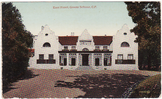[11738]  SOUTH AFRICA-NEW ZEALAND [WW1 NZ TROOPSHIP MAIL]  Circa 1917 coloured stampless picture postcard of South Africa East Front, Groote Schuur C.P)
