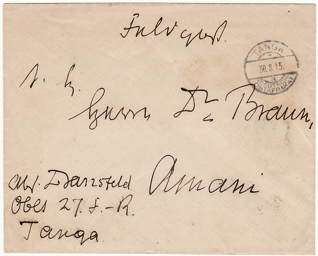 [5466] GERMAN EAST AFRICA[WW1 EAST AFRICA CAMPAIGN GERMAN FORCES INTERNAL MAIL] 1915(Aug 30)