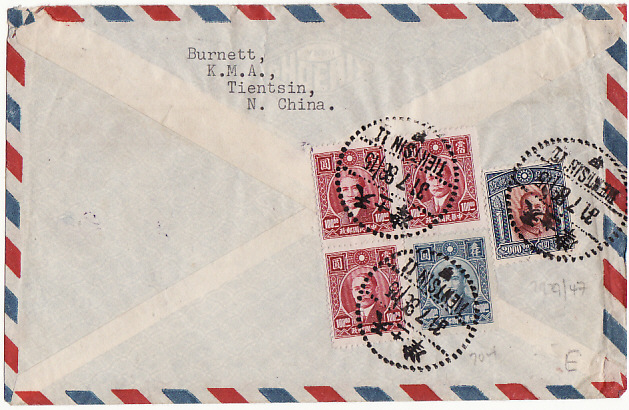 [13993]  CHINA-GB [AIRMAIL VIA CALCUTTA or HONG KONG]  1947(Jul 31)
