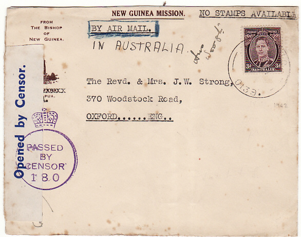 [12289]  PAPUA & N.G.-GB [WW2 CENSORED]  1942 New Guinea Mission/From the Bishop of New Guinea pictorial envelope (Few tone spots)