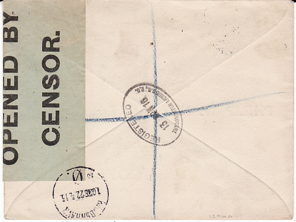 [10471]  GB-DENMARK [WW1 REGISTERED CENSORED with SCARCE LABEL]  1916(Apr 13)