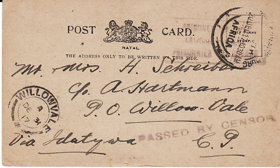 [12245]  SOUTH AFRICA [WW1 NATAL STATIONARY POW MAIL]  1917(Dec 20)