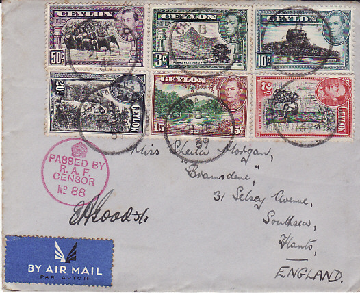 [11084]  CEYLON-GB [WW2 AIRMAIL RAF CENSOR]  1939(Dec 21)