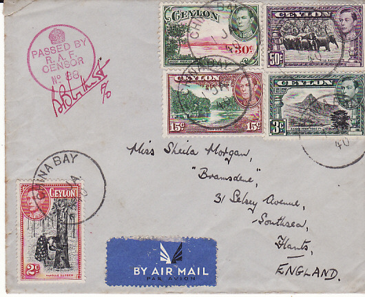 [11085]  CEYLON-GB [WW2 AIRMAIL RAF CENSOR]  1940(Jan 1)
