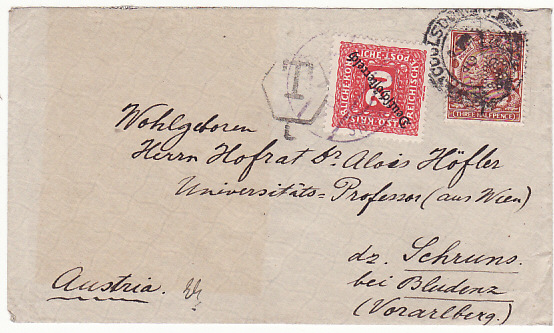 [11212]  GB-AUSTRIA [EARLY AUSTRIAN REPUBLIC-POSTAGE DUE-PERFIN]  1919(Sep 10)