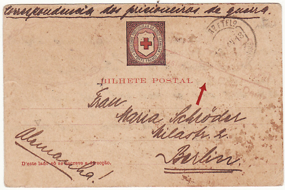 [12438]  PORTUGUESE COLS/AZORES-GERMANY [WW1-CIVIL INTERNEE-RED X]  1918(Jan 11)