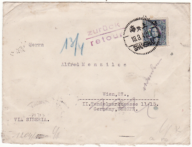 [12540]  CHINA-GERMANY [WW2 CENSORED INTERNED IN POLAND & RETURNED TO SENDER]   1941(Mar 13)