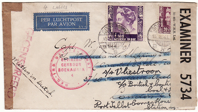[13026]  N.E.I.-GB [WW2 AIRMAIL with MULTIPLE CENSORSHIP to SHIPPING LINE cover]  1941(Feb 15)