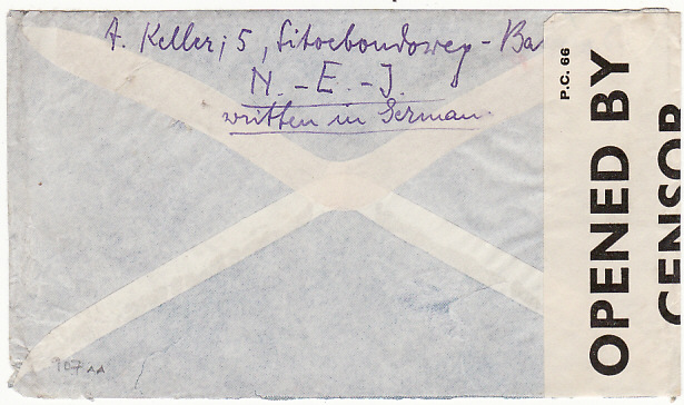 [13033]  NED.EAST.INDIES.-GB [WW2 AIRMAIL & DOUBLE CENSORSHIP]  1940(Jun 7)