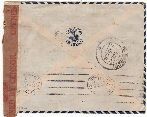 [13708]  INDO-CHINE-INDIA [WW2 DOUBLE CENSORED AIRMAIL]  1940(Sep 24)