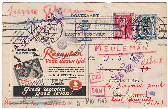 [11074]  BELGIUM-PORTUGAL-GB [WW2 OFFICE DU COLIS ALIMENTAIRE UNDERCOVER MAIL]  1943(Apr 2)