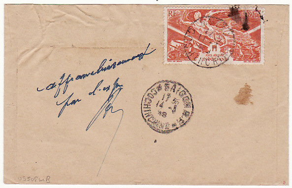 [13627]  INDO-CHINE-FRANCE [1948 REGISTERED MYTHO COCHINCHINE to PARIS]  1948(Mar 11)
