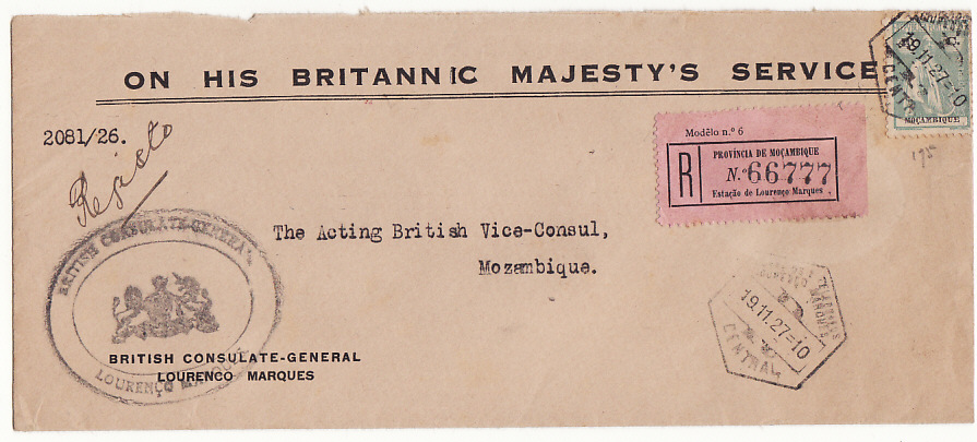 [15032]  PORT. COLS/MOZAMBIQUE [INTERNAL BRITISH CONSULAR MAIL]  1927(Nov 19)