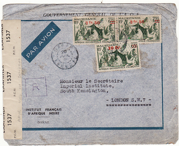 [15218]  SENEGAL-GB [WW2 MAURITANIA USED IN SENEGAL REGISTERED CENSORED]  1944(Oct 20)