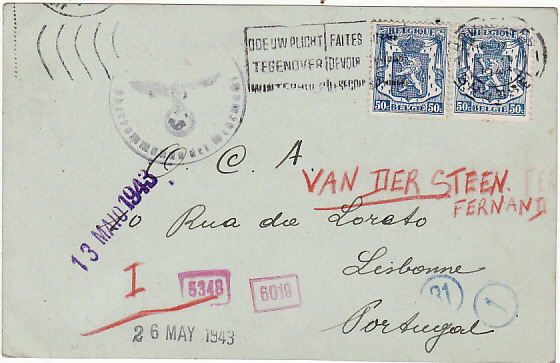 [14908]  BELGIUM-PORTUGAL [UNDERCOVER MAIL]  1943(May 3)
