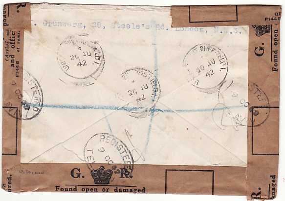 [14796]  GB-PALESTINE [REGISTERED AIRMAIL & OFFICIALLY SEALED]  1942(Aug 20)