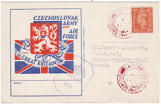 [13700]  GB-CANADA [CZECH FORCES UNDERCOVER ADDRESS]  1943(Sep 14)