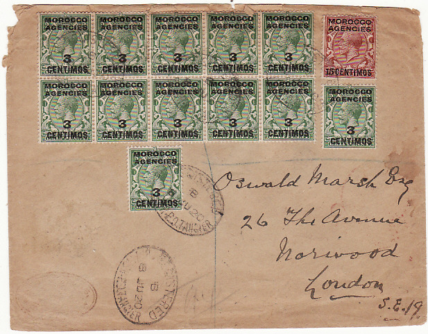 [17059]  MOROCCO AGENCIES-GB [GV SPANISH CURRENCY REGISTERED]  1920 (Jun 8)