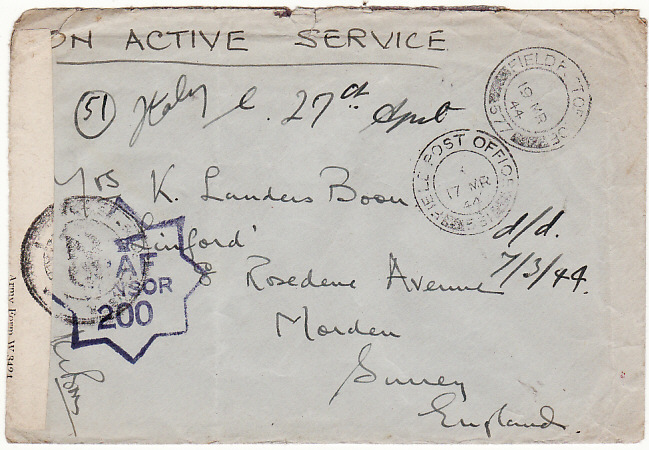 [0808] ITALY--GB [WW2 RAF with BASE CENSOR] 1944(Mar 17)