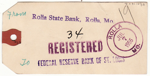 [17262]  USA..1955 PREXIES on REGISTERED BAG TAGS to FEDERAL RESERVE BANK   1955(Jul 7)
