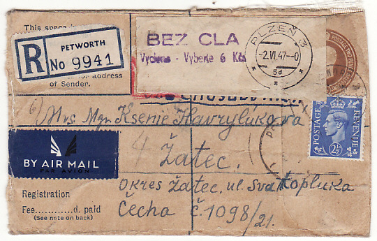 [17321]  GB-CZECHOSLOVAKIA...1947 POLISH FREE FORCES...  1947 GB GV1 x 5½ d Registered envelope (marginally reduced right side )