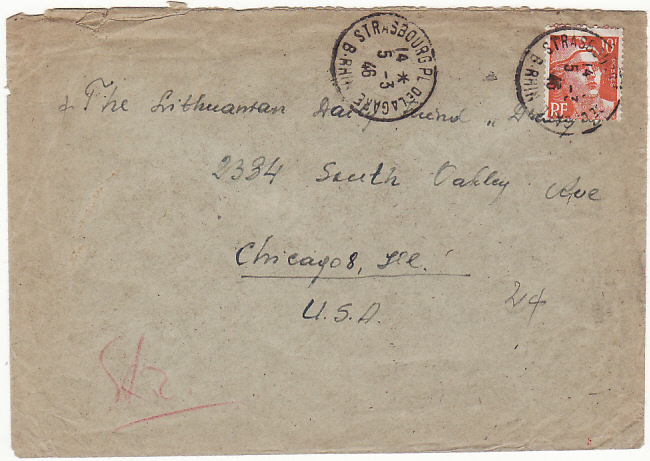 [13945]  FRANCE-USA...LITHUANIAN COMMITTEE RED CROSS...  1946 (Mar 5)