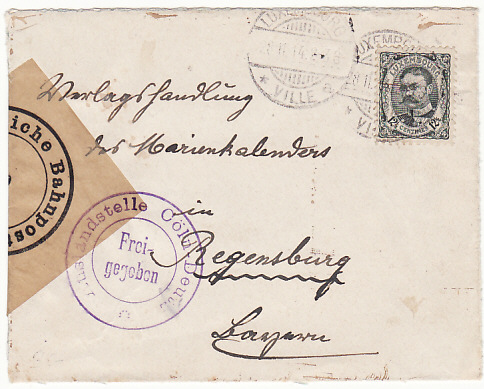 [12428]  LUXEMBOURG-GERMANY..WW1 EARLY CENSORED...  1914(Nov 28)