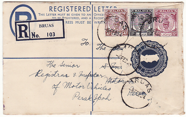 [17392]  MALAYA..PERAK..REGISTERED BRUAS to IPOH...  1954 (Feb 6)
