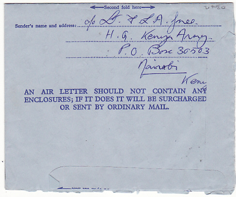 [17456]  KENYA-GB..1964 PICTORIAL GREETING AIR LETTER from BRITISH FORCES...  1964 (Aug 26)