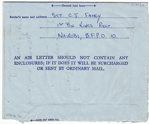 [17455]  KENYA-GB..1961 PICTORIAL GREETING AIR LETTER from BRITISH FORCES...  1961 (Jun 15)
