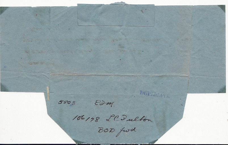 [17500]  NEW ZEALAND-NEW CALEDONIA..WW2 FOLDED TELEGRAM FORMS to 2nd N.Z.E.F. SOLDIER...   1943(Dec 9)