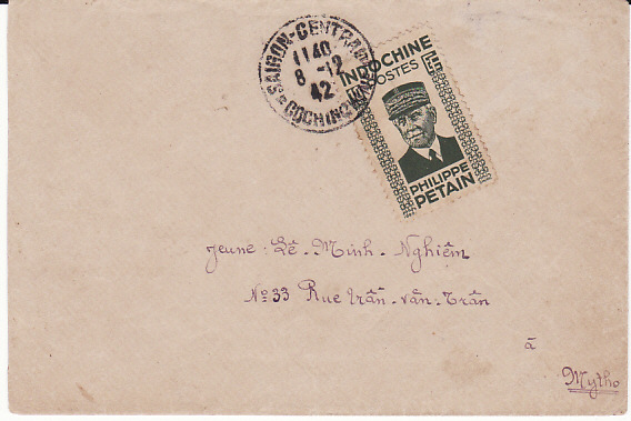[10191]  INDO-CHINE...WW2 PETAIN ISSUE on INTERNAL MAIL...   1942(Dec 8)