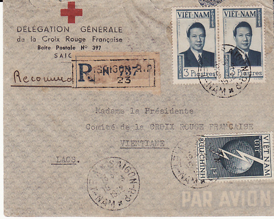 [11193]  VIET NAM-LAOS...1952 INDEPENDENT STATE..RED CROSS DELEGATION REGISTERED to LAOS...  1952(Aug 19)