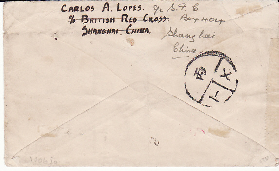 [12195]  CHINA-AUSTRALIA-GB..WW2 RED X RETURNED MAIL..  WW2 Australian Red Cross Society, to Hospital Patients printed stampless envelope endorsed on reverse from Carlos A. Lopes, c/o British Red Cross, Shanghai & cancelled faint Shanghai [5 May ?] datestamp to Dennis A. Parr, S.S. Arrawa c/o British Fleet Post, Sydney & forwarded to Shai. Power Co, London then to Walton Liverpool with Victoria Docks United Nations (22 Dec 45)